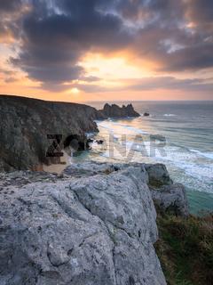 Dawn on Treen Cliffs Cornwall