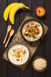 Oatmeal Porridge with Fruits and Walnuts