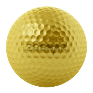 golden golf ball isolated on white background