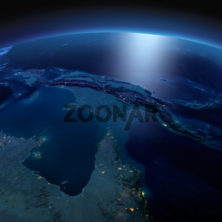 Detailed Earth. Australia and Papua New Guinea on a moonlit night