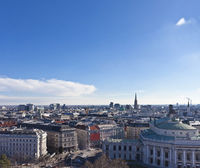 Cityscape of central Vienna with the St. Stephans Cathedral and the Burgtheater.