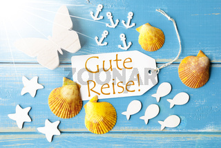 Sunny Summer Greeting Card With Gute Reise Means Good Trip