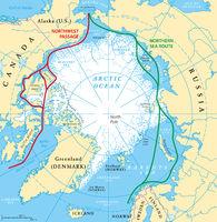 Arktischer Ozean Seewege Landkarte