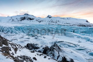 Islands Gletscher Svinafellsjoekull im Winter