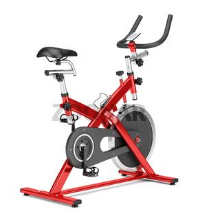 stationary exercise bike isolated on white background