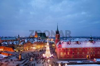 Old Town of Warsaw at Dusk in Poland