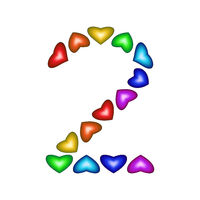 Number 2 made of multicolored hearts on white background