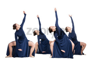 young dancers dancing over white backgroud