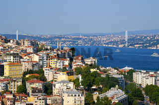 The view on  Bosphorus with Bosphorus bridge, Istanbul, Turkey