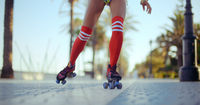 Low Angle Shot of Roller Skating Girl
