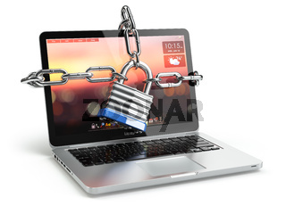Computer security or safety concept. Laptop keyboard with lock and chain.