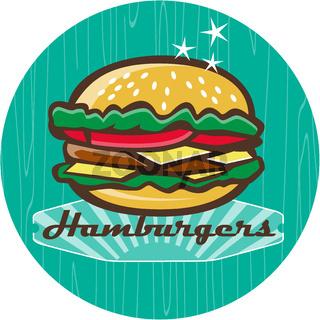 Retro 1950s Diner  Hamburger Circle
