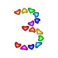 Number 3 made of multicolored hearts on white background
