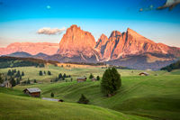 Seiser Alm with Langkofel Group in last sunlight, South Tyrol, Italy