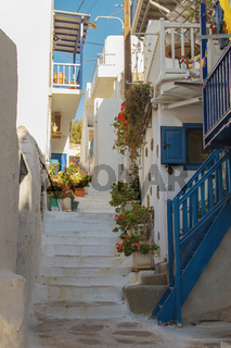Typical Colors and Street in Mykonos Greece
