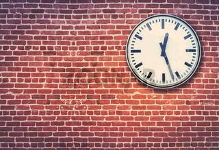 Red Brick Wall And Clock