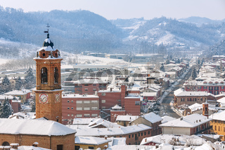 Small italian town covered with snow.