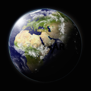 Realistic illustration of planet Earth as seen from space facing Africa