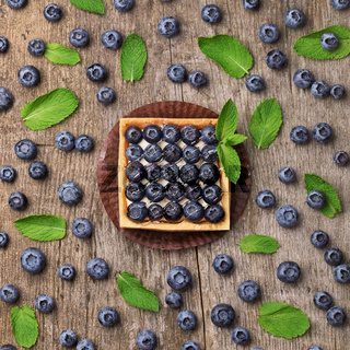 sweet cakes with fresh blueberries