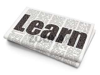 Learning concept: Learn on Newspaper background