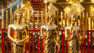 Gold Buddha statues in Wat Phra That Doi Suthep