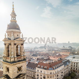 Bell tower of St. Stephen's Basilica and view of Budapest