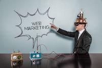 Web marketing text with vintage businessman