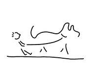kleines kind geht mit hund gassi