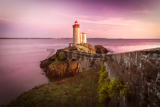 Lighthouse Phare du Petit Minou at sunset, Brittany, France