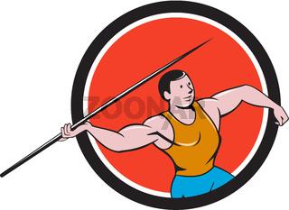 Javelin Throw Track and Field Circle Cartoon
