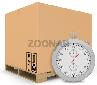 Paper covered boxes on wooden pallet with a stopwatch standing next