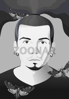 Black and White Portrait of Male