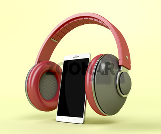 Red wireless headphones and smartphone