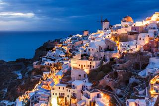Night shot Oia Santorini Greece