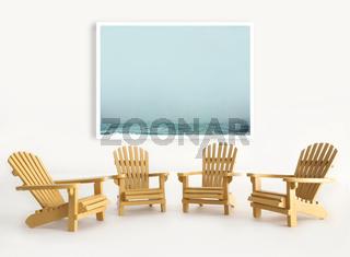 Four miniature adirondack chairs on white