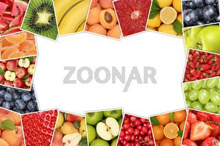 Rahmen aus Früchte und Obst wie Apfel, Orange, Zitrone mit Textfreiraum