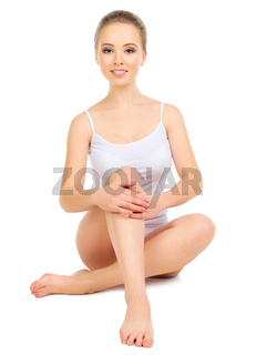 Young healthy girl isolated on white