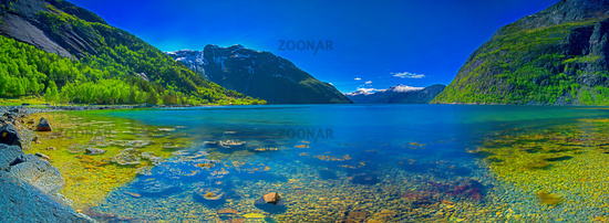 Panorama of a Norwegian fjord