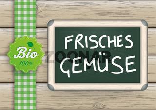 Frisches Gemuese Blackboard Wood Bio