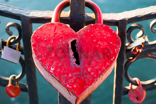Big marriage love symbol padlock on bridge