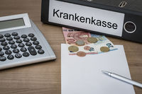 Krankenkasse written on a binder