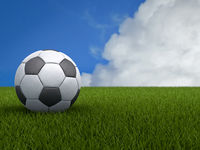 Football or Soccer Ball on a Green Grass with Blue Sky Background. 3D illustration