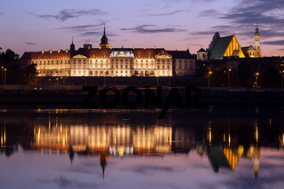 Royal Castle and Vistula River at Twilight in Warsaw