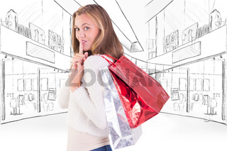 Composite image of pretty blonde keeping a secret holding bags