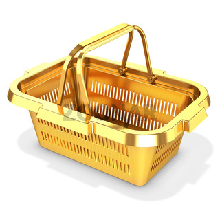 3d golden empty shopping basket