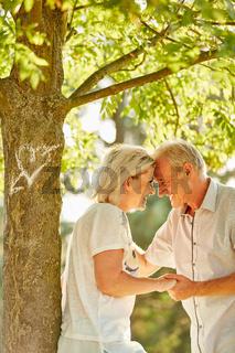 Paar Senioren blickt sich verliebt in die Augen