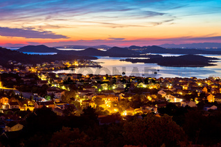 Adriatic archipelago at sunset from Murter island