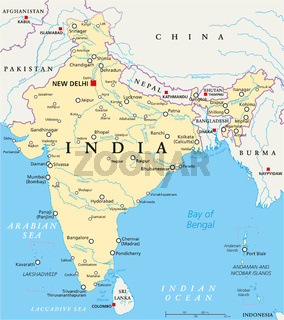 Indien politische Landkarte