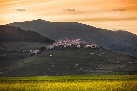 Castelluccio di Norcia at sunset, Umbria, Italy