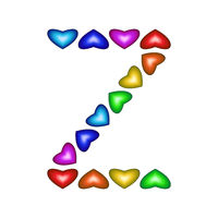 Letter Z made of multicolored hearts